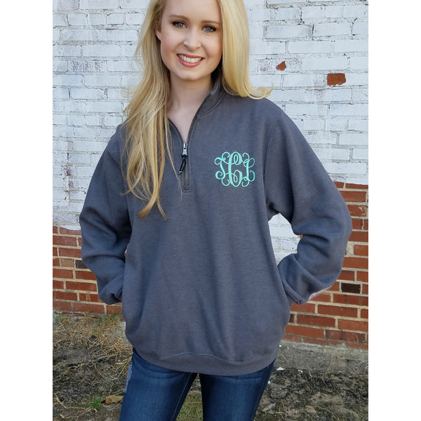 Monogram Quarter Zip Charles River Pullover Sweatshirt - My Southern Charm