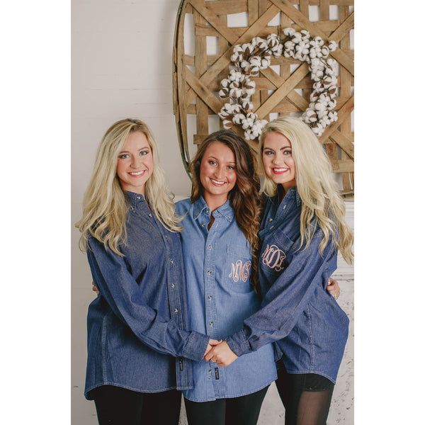 Monogrammed Denim Button Down Shirt for Bride and Bridesmaids - My Southern Charm