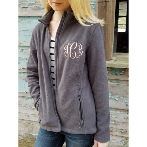 Monogrammed Full Zip Womens Fleece Jacket, Christmas Gift for Mom, Wife or Girlfriend - My Southern Charm