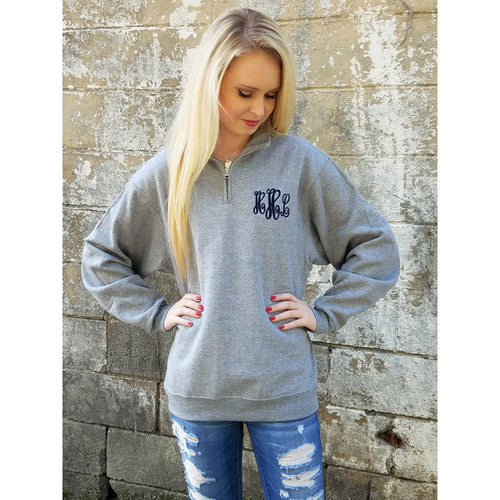 Monogrammed Quarter Zip Pullover Sweatshirt, Gift for Bridesmaids, Girlfriend or Wife - My Southern Charm