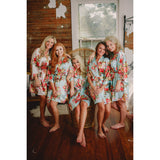 Will you be my Bridesmaid? Monogrammed Floral Kimono Robes and Bridesmaid Proposal Box (RB05)