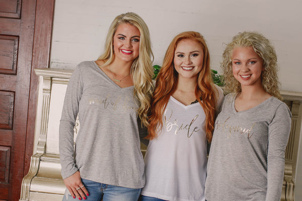 Bridesmaid Shirts Long Sleeve ~ Bachelorette Party Shirts ~ Flowy Bridal Party Shirts - My Southern Charm