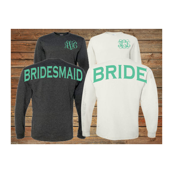 Monogram Bridesmaid Long Sleeve Shirts Personalized Bridal Party Shirts Bachelorette Party - My Southern Charm