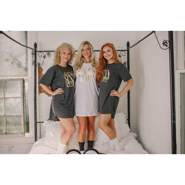 Monogrammed Pajama T Shirt Dress for Bridesmaids - My Southern Charm