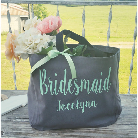 Personalized Monogrammed Bridal, Bridesmaid, Maid of Honor Tote Bag