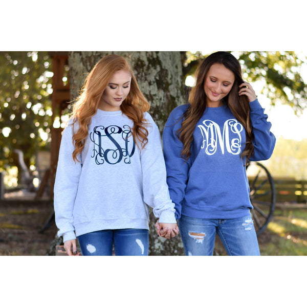 SALE!! Monogrammed Crewneck  Sweatshirt ~ Gift for Wife or Girlfriend