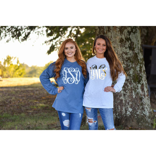 Monogrammed Long Sleeve Shirt for Fall - My Southern Charm