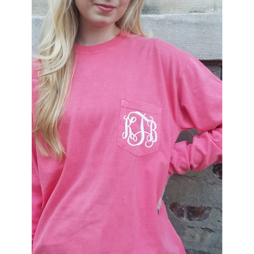Monogrammed Comfort Colors Long Sleeve Pocket Tee Shirt - My Southern Charm