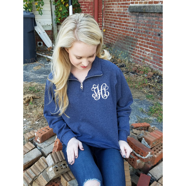 Quarter Zip Monogrammed Sweatshirt ~ 1/4 Zip Monogram Pullover Sweater ~ Gift for Her - My Southern Charm