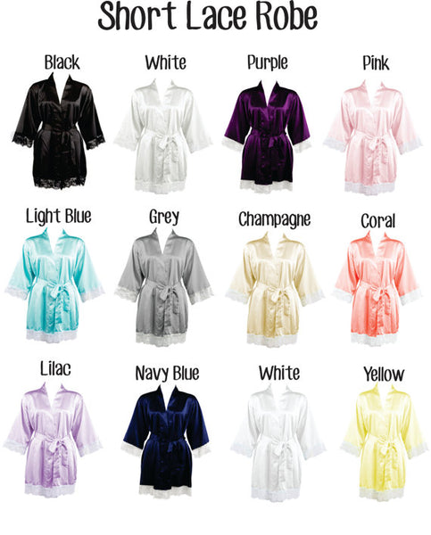Personalized Satin Bridal Bridesmaid Robes with Lace (RB02) - My Southern Charm