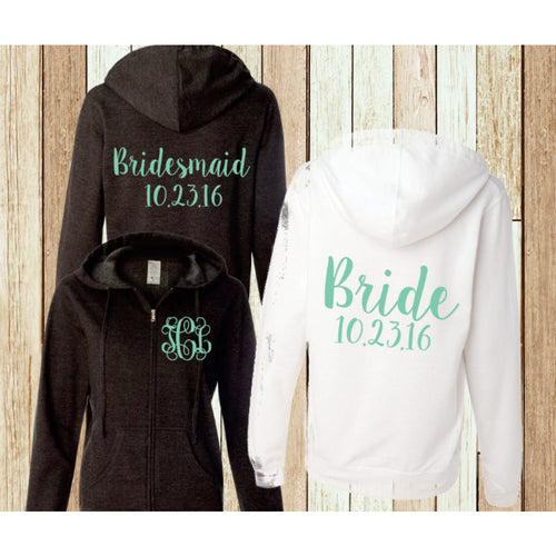 Monogram Hoodie Bridal Party Sweatshirt Bridesmaid Full Zip Jacket - My Southern Charm