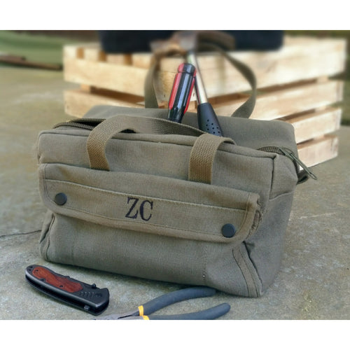 Personalized Military Style Mechanic Canvas Tool Bag Kit Ammo Bag, Groomsmen Father's Day or Anniversary Gift - My Southern Charm