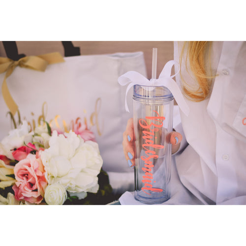 Skinny Tall Personalized Bridesmaid Tumbler Wedding Party Favors and Bachelorette Party Cups - My Southern Charm