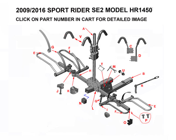HR1450X Bike rack replacement parts