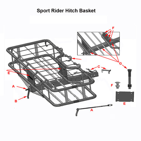 sport rider cargo carrier add-on kit replacement parts