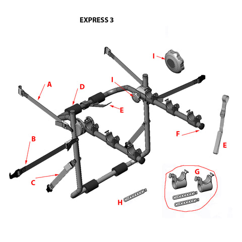 Express 3 Bike Rack Replacement Parts