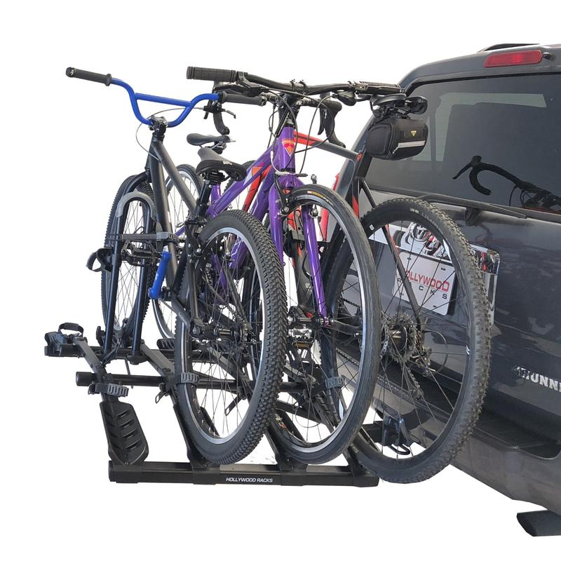 Destination Bike Rack Folded Down | Hollywood Racks | 4 Bike Rack Shown with 3 Bikes