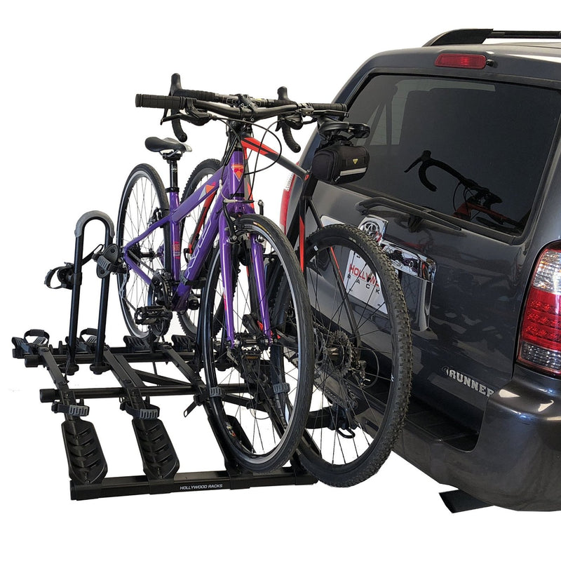 Destination Bike Rack Folded Down | Hollywood Racks | 4 Bike Rack Shown With 2 Bikes