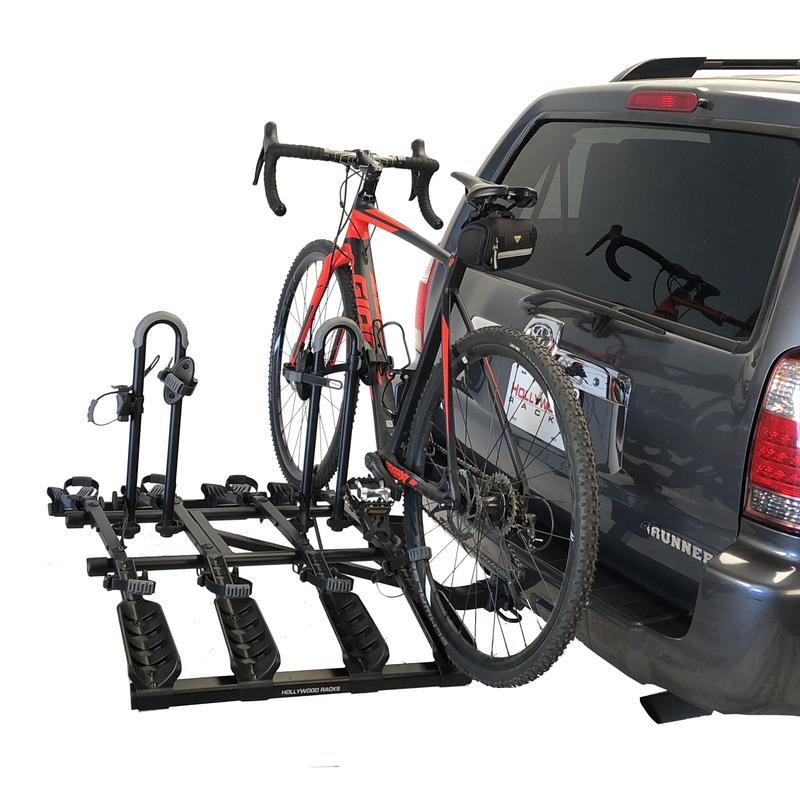 Destination Bike Rack Folded Down | Hollywood Racks | 4 Bike Rack Shown with 1 Bike