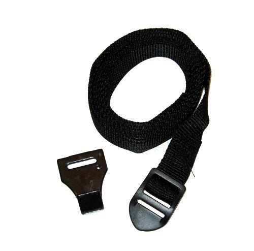 Lower strap with buckle and hook