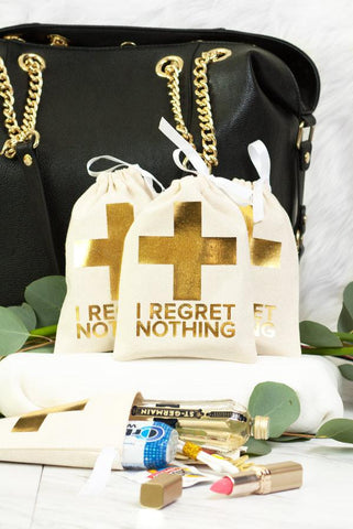 Gold Foil I Regret Nothing! Hangover Kit Bags