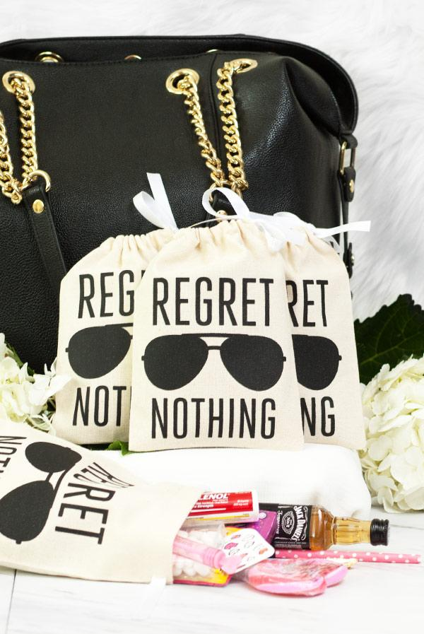 Bachelorette Party Hangover Relief Bags - Regret Nothing