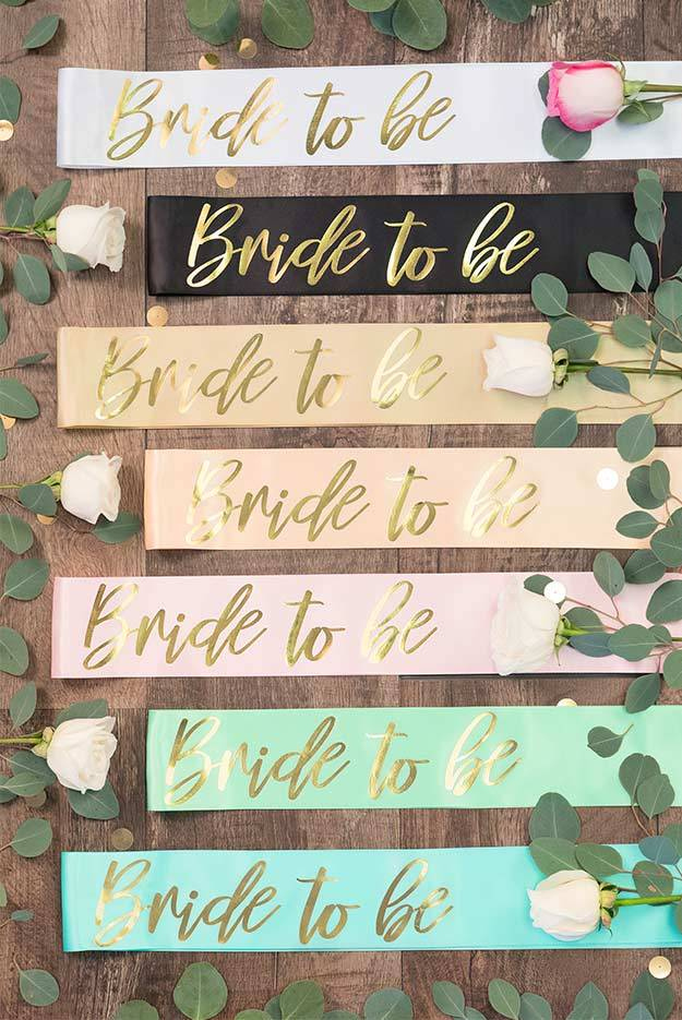 Bride To Be Gold Foil Sash | Lots of colors!