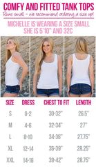 Size Chart for our fitted tank tops