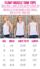 Size Chart for our flowy muscle tanks