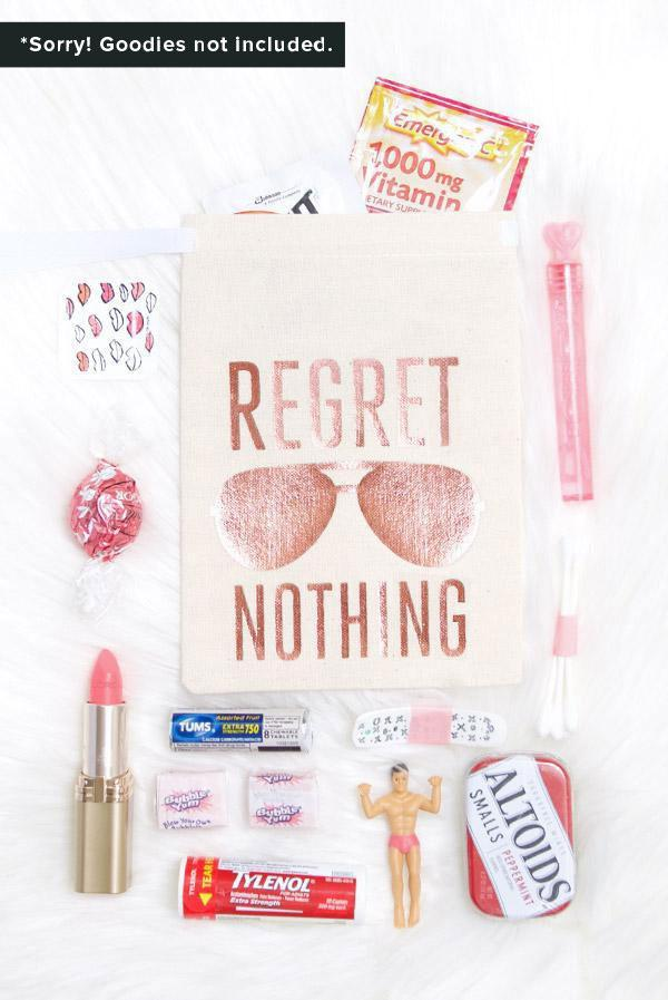 Rose Gold Aviator Regret Nothing! Hangover Kit Bags