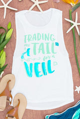 Mermaid bachelorette party shirts! Trading my Tail for a Veil and Time to Party our Tails off - perfect for a beach bachelorette!