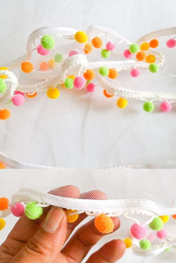 Fiesta Pom Pom Party Veil