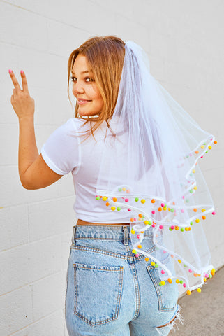 Fiesta Pom Pom Bachelorette Party Veil
