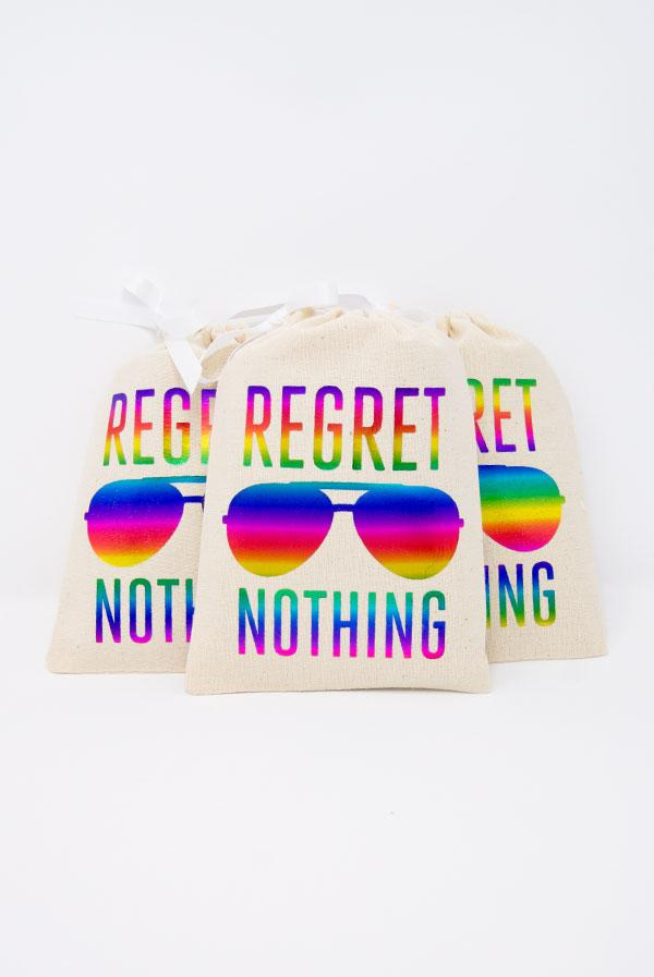 Rainbow Foil Regret Nothing! Hangover Kit Bags