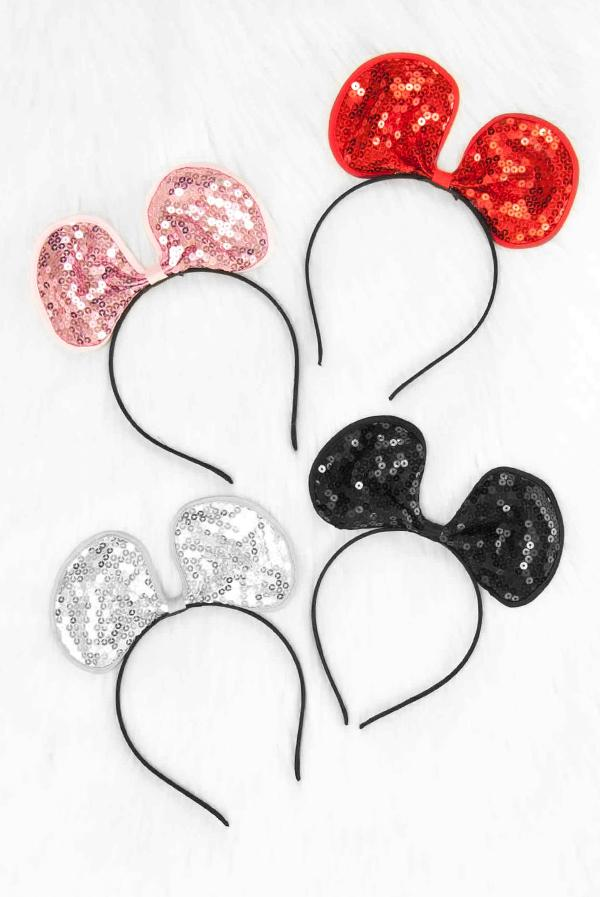 Adjustable Sequin Bow or Mouse Ear Headbands | Lots of colors!