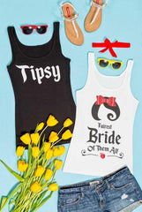 So cute! Snow Bride and the Seven Bridesmaids glittery bachelorette party tank tops! Everyone can have a shirt that matches their personality!