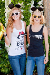 Whimsical Bachelorette Party Shirts | Snow Bride and the Seven Bridesmaids | Fitted Tanks