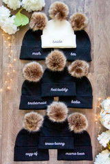 Winter bachelorette party pom-pom beanies collection by Bachette.com