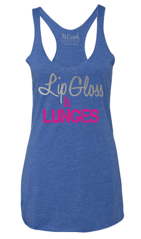 Lip Gloss & Lunges Tank - Vintage Royal