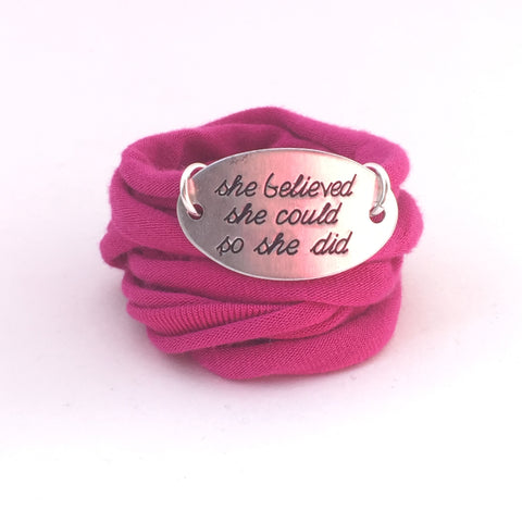 Motivational Wrap Bracelet - She Believed She Could (5 colors)