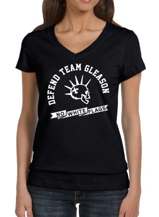 Defend Team Gleason Womens V-Neck Tshirt