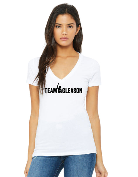White Team Gleason Womens V-neck T-shirt