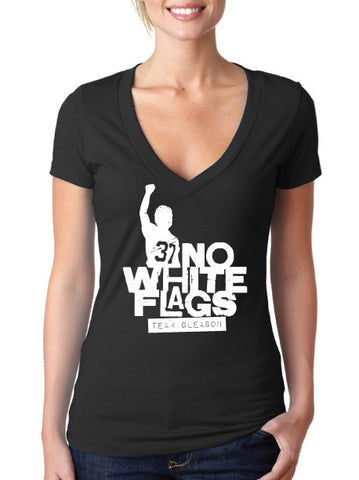 No White Flags Black V-neck Womens T-shirt