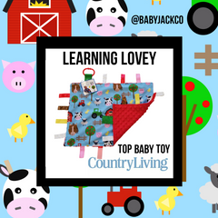 baby Jack learning lovey tag blankets farm on country living