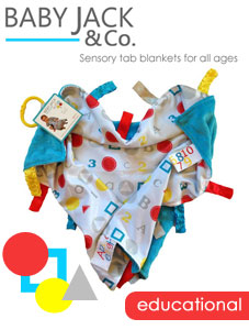 Educational Sensory Tag Blanket in Holiday Guide for TheBabyGuy
