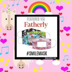 Fatherly features Baby Jack Learning Lovey Smile Window Clear Masks