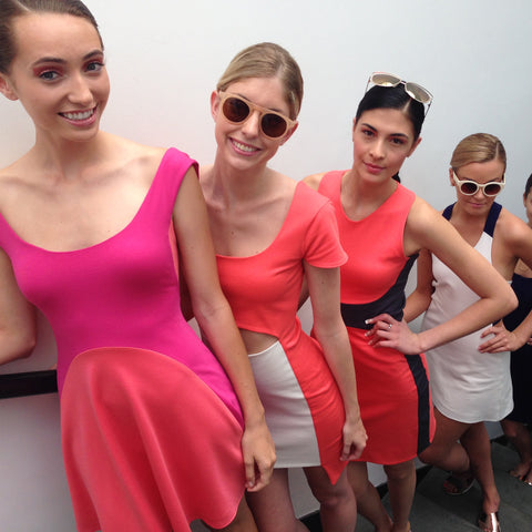 models in la fille colette backstage