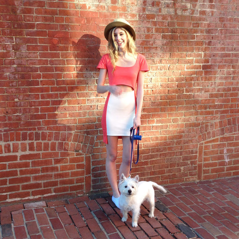 edie sundress on model with dog