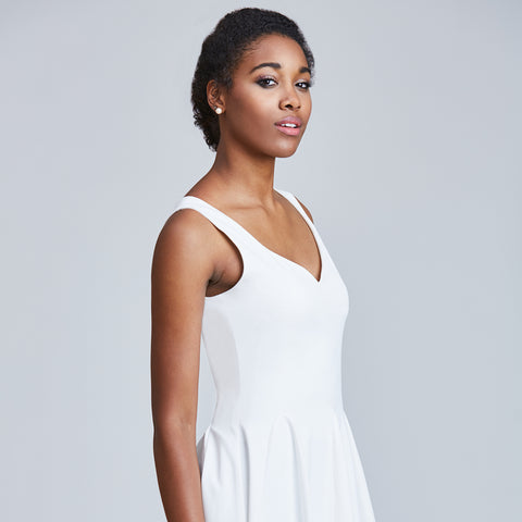 white madeleine dress