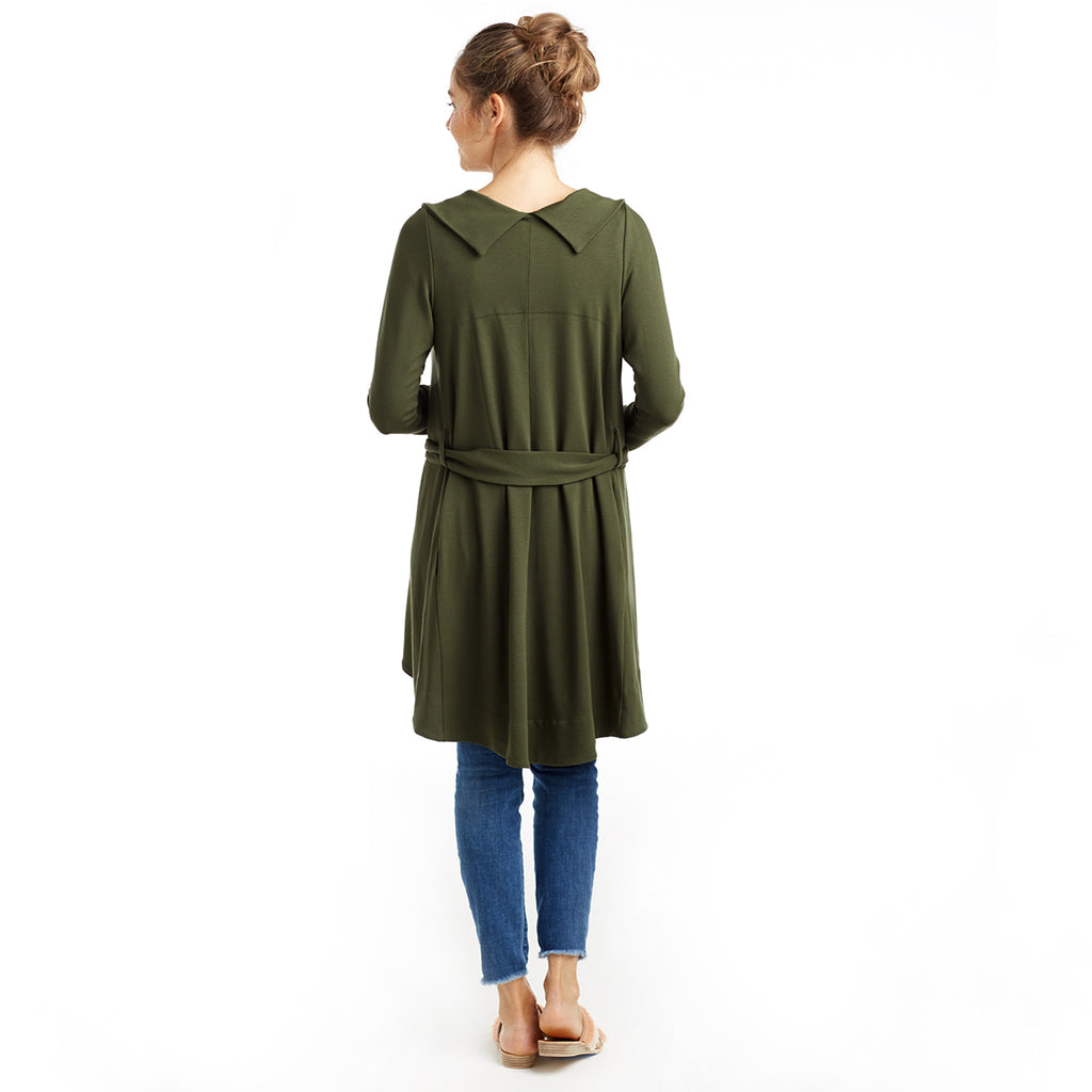 green belted sweater jacket back